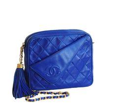 Authentic vintage Chanel from Resurrection Vintage Cobalt Tassel Bag