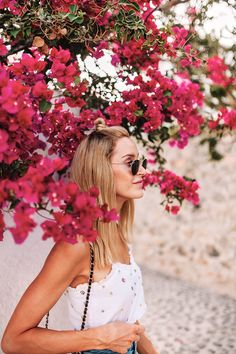 Casual summer outfit with an embellished top & a denim skirt for wandering around Oía - Anna Pauliina, Arctic Vanilla blog.