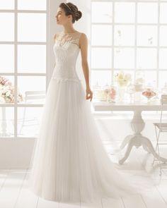vestido de noiva MALASIA de AIRE BARCELONA 2016em tule e renda art deco 1