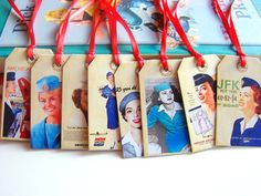 Stewardess Gift Tags A  Vintage Airplane Travel by MimiAndLucy