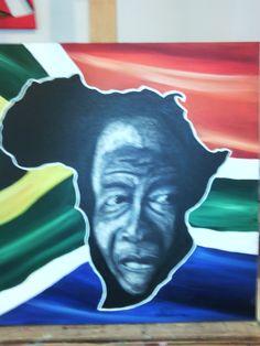 """""""Mandela"""" peinture à l'huile et à la craie"""