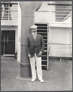 Nicolas Longworth standing by deck ventilator aboard SS Manchuria. Photo by Burr McIntosh.