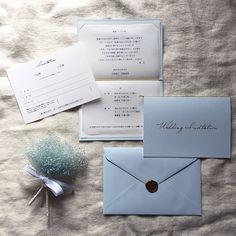 ハンドメイドマーケット minne(ミンネ)| 淡いブルーの招待状セット 【シーリングスタンプ】