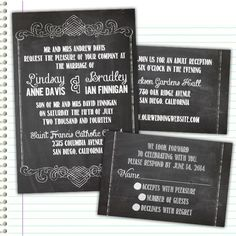 Custom Chalkboard Wedding Invitations.