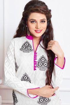 THANKAR WHITE AND PINK EMBROIDERED COTTON DRESS MATEIRIAL  wholesale  white   dresses  pink  shopping  casual 1d38a63fe1212