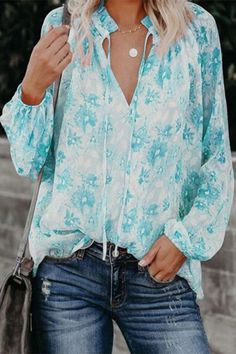 Holiday Floral Print Paneled Drawstring V-neck Chiffon Blouse - Diorer Half Sleeves, Types Of Sleeves, Floral Tops, Floral Prints, Thing 1, Knit Sweater Dress, Blouse And Skirt, Blouse Styles, Casual T Shirts