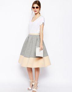 Image 1 ofASOS Bonded Sweat Midi Skirt With Contrast Hem