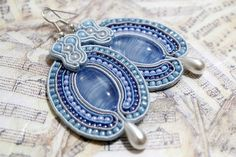 Dusk Blue Hand Embroidered Soutache Earrings with Faux by Herinia, $35.00