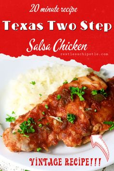 Salsa chicken is a quick, weeknight dinner recipe bursting with fresh Southwestern flavor. OMG, it's so easy that's it's almost too embarrassing to post! Baked Meat Recipes, Yummy Chicken Recipes, Potluck Recipes, Pork Recipes, Whole Food Recipes, Casserole Recipes, Delicious Recipes, Dinner Recipes, Easy Family Dinners