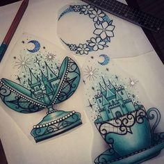 Availables! Email me if youre interested in claiming one sophie.adamson@hotmail.co.uk A deposit is required to reserve. Please do not copy! #fabergeegg #moon #castle #teacup #neotraditional #art #design #uktattoo #plymouth #ladytattooers...