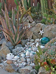 Seashells in the Garden- I do this too. Grandma did as well- My grandchildren like the idea!