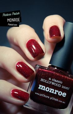 Deep blood red nails. Classy and gorgeous.