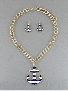 Stripe Anchor Chain Necklace & Earring Set from P.S. I Love You More. Shop online at: psiloveyoumore.storenvy.com