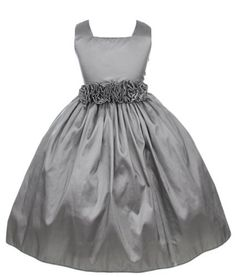 Sweet Kids Girls Sleeveless Flower Girl Dress with Rolled Flower Waistband (Silver)