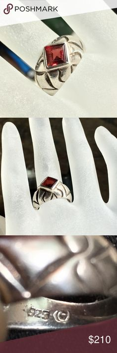 Taxco Mexico Sterling silver garnet unisex ring Beautiful vintage Sterling silver 925 genuine hand cut faceted garnet ring Jewelry Rings