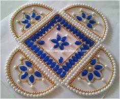 White and blue Kundan Rangoli Pattern !