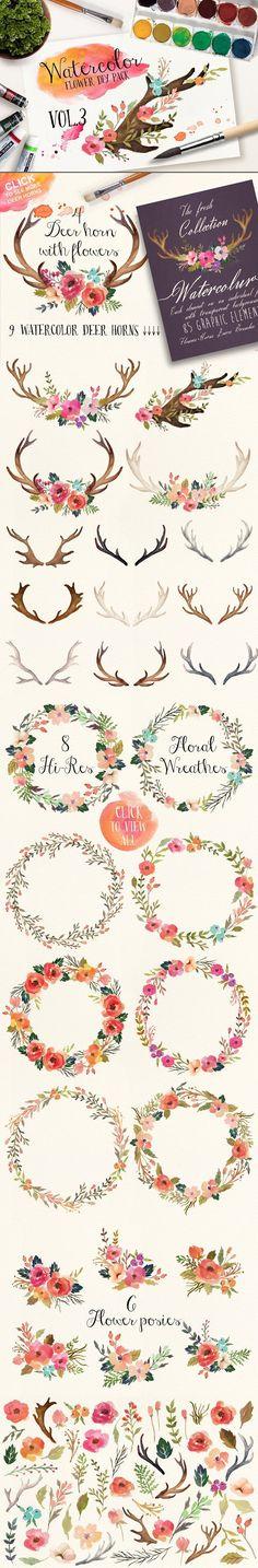 Watercolor flower DIY pack Vol.3. Wedding Fonts