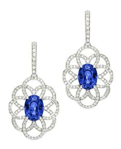 Earrings in 18K white gold set with 2 oval-cut blue sapphires and 206 brilliant-cut diamonds. #Piaget