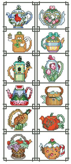 Teapot Cross Stitch Floral Teapot Floral teapot pattern here Tribal Teapot Tribal pattern here Treasured Friend Teapot pattern. Cross Stitch Fruit, Cross Stitch Kitchen, Cross Stitch Designs, Cross Stitch Patterns, Cross Stitching, Cross Stitch Embroidery, Cross Stitch Pictures, Sewing Crafts, Tea Pots
