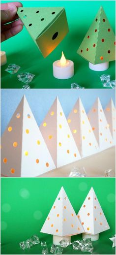 Papierbaum auf Teigkerze Paper tree on dough candle - holidays and occasion Decorating With Christmas Lights, Christmas Decorations To Make, Christmas Projects, Holiday Crafts, Christmas Paper Crafts, Wood Christmas Tree, Christmas Holidays, Christmas Ornaments, Diy Ornaments