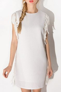 Fringe Splicing Solid Color Sleeveless Dress