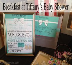 """""""Breakfast at Tiffany's"""" Baby Shower late night diaper change"""