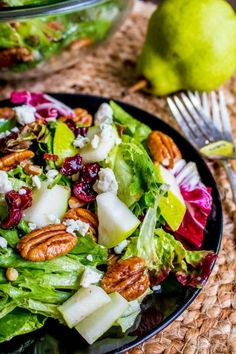pear and walnut salad topped with blue cheese