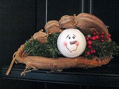 baseball snowman in glove  wood-n-stitches