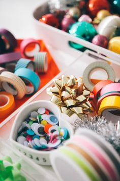 colorful baubles and nail stickes.
