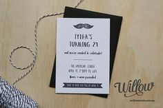 Black & White Birthday Invitation von WillowDesignAU auf Etsy