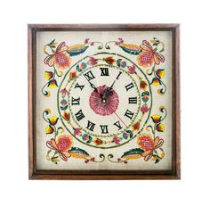 Vintage Embroidered Clock Folk Art Clock 1960s by PlumsandHoney
