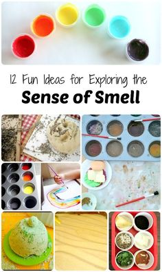 12 Fun Ideas for Exploring the Sense of Smell~Unique ideas for toddlers, preschoolers, and school age kids. Pinned by The Sensory Spectrum pinterest.com/sensoryspectrum