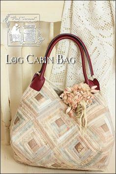 Розовый Карамель: Log Cabin сумка & ткань цветов