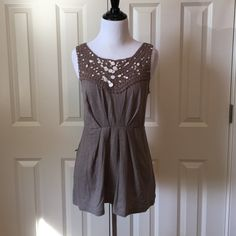 Anthropologie Crocheted and Cotton Tank Perfect for Fall transition.  Cute Deletta crochet/cotton tank with small amount of sequin.  This is in new condition and was only worn once. Anthropologie Tops Tank Tops