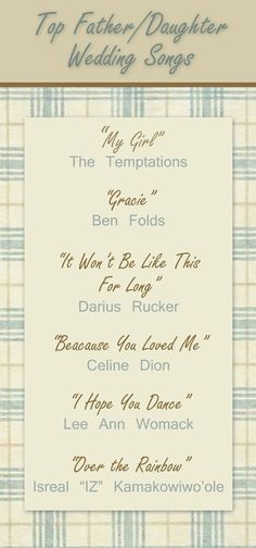 Top Father/Daughter wedding songs