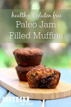 They might not look pretty, but this Healthy Paleo Jam Filled Muffin Recipe is seriously delicious and you will definitely fall in love at first bite! Paleo Jam, Paleo Fruit, Healthy Cake, Healthy Muffins, Healthy Snacks, Healthy Breakfasts, Strawberry Jam, Vegan Baking