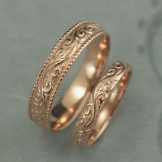 Solid 14K Rose Gold Flourish Wide Wedding Band Set--Swirl Patterned His and Hers Wedding Rings--Hand Made Wedding Bands in 14K Rose Gold