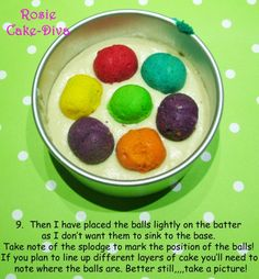 Spotty Dotty Cake Tutorial - Edible Artists Network - Cake decorating, tutorials, recipes a virtual meeting place for cake decorators and sugar artists. Just Desserts, Delicious Desserts, Yummy Food, Spotty Dotty Cake, Inside Cake, Polka Dot Cakes, Surprise Cake, Different Cakes, Cake Tutorial