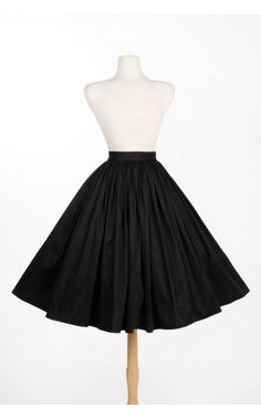 Pinup Couture - Jenny Gathered Full Skirt in Black Sateen | Pinup Girl Clothing