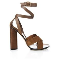GUCCI Leather and suede sandals (495 CAD) ❤ liked on Polyvore featuring shoes, sandals, heels, high heels, tan, chunky-heel sandals, chunky heel sandals, gucci sandals, leather strappy sandals and leather strap sandals