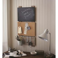 Bulletin Board with Chalkboard and Hooks  This is exactly what i want...now i just need to figure out how to diy it...