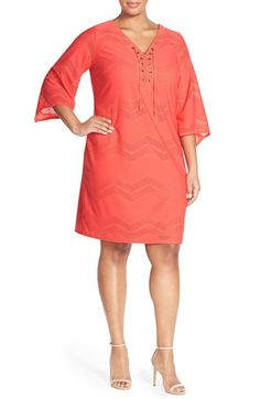 London Times Lace-Up Neck Chevron Mesh Shift Dress (Plus Size) available at #Nordstrom