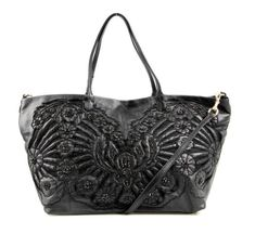 Valentino Black Leather Floral Beaded Oversized Convertible Tote Bag NEW #Valentino #TotesShoppers