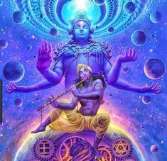Lord Krishna in his cosmic form as mentioned in Hinduism text of Bhagavad Gita Krishna Lila, Krishna Art, Shree Krishna, Lord Shiva Painting, Krishna Painting, Hinduism Symbols, Wicca, Tarot, Dragons