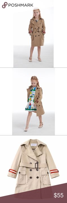 Girls Heritage Twill striped trench coat NWT. High-end girls trench coat. ❌NO TRADE❌.                                         ♥️♥️Available in 7 sizes:                      3-4T(104cm, choose3T),  4-5T(110cm, choose 4),                                        5-6(118cm, choose5),  7-8(128cm, choose7),                            9-10(140cm, choose10), 11-12(152cm, choose12),                        13-14(164cm, choose 14).                                    Also selling different designs…