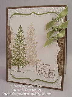 Stamps: Lovely As A Tree, Whimsical Words Card Stock: Soft Suede, White, Old Olive, DSP- Autumn Traditions Ink: Soft Suede, Old Olive Supplies: Big Shot, Top Note Die, Vintage Wallpaper Embossing Folder, Ribbon, Hole Punch, Paper Crimper, Dimensionals, SU Soft Suede Marker Technique: Dry Embossing, Stamping Off