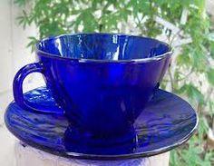 Cobalt Blue Tea Cup and Saucer Blue Coffee Cups, Blue Cups, Tea Cups, Cobalt Glass, Cobalt Blue, Amber Glass, Vintage Coffee, Vintage Tea, Vintage Dishes