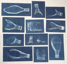 Lynnette Miller, Cyanotypes of broken bottles found in the garden.