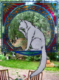 WICOART STICKER WINDOW COLOR CLING FAUX STAINED GLASS CHAT BLANC ART NOUVEAU