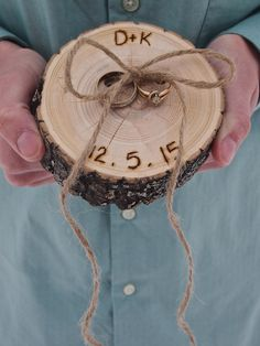 RING Pillow - RUSTIC Ring Bearer Pillow Wood Slice - Personalized - Wood Slice…
